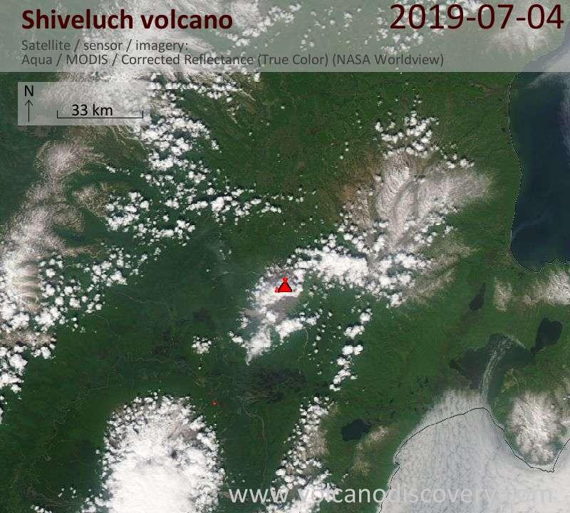 Спутниковое изображение вулкана Shiveluch  4 Jul 2019