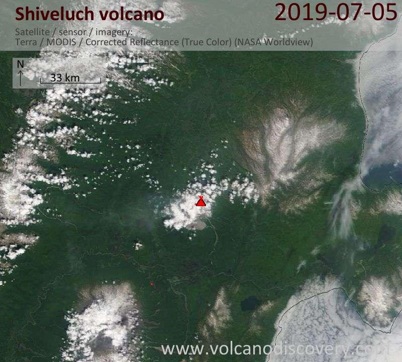 Спутниковое изображение вулкана Shiveluch  5 Jul 2019