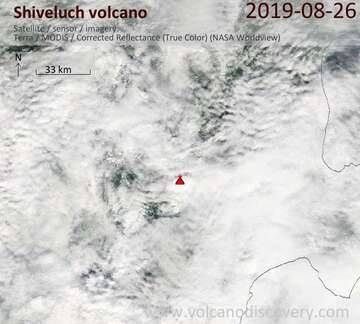 Satellite image of Shiveluch volcano on 26 Aug 2019
