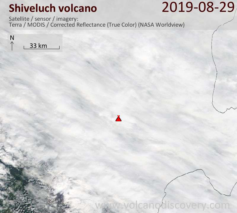 Satellite image of Shiveluch volcano on 29 Aug 2019