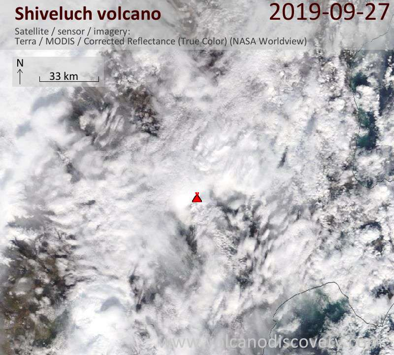 Satellite image of Shiveluch volcano on 27 Sep 2019