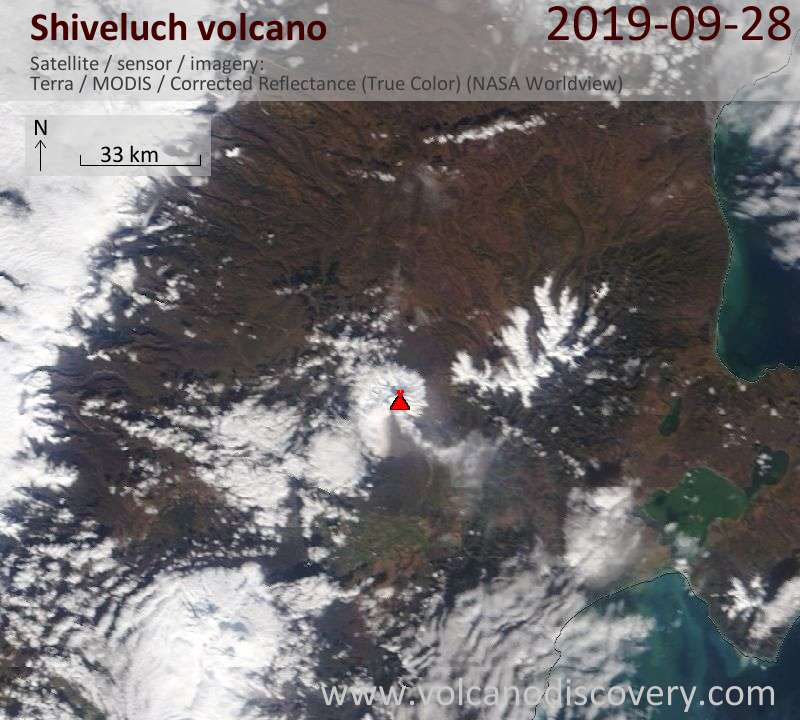 Satellite image of Shiveluch volcano on 28 Sep 2019