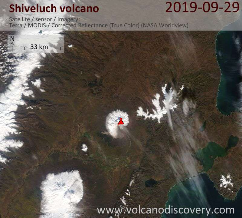 Satellite image of Shiveluch volcano on 29 Sep 2019