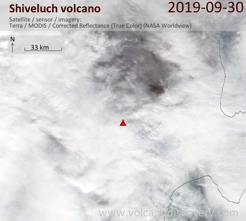 Satellite image of Shiveluch volcano on 30 Sep 2019