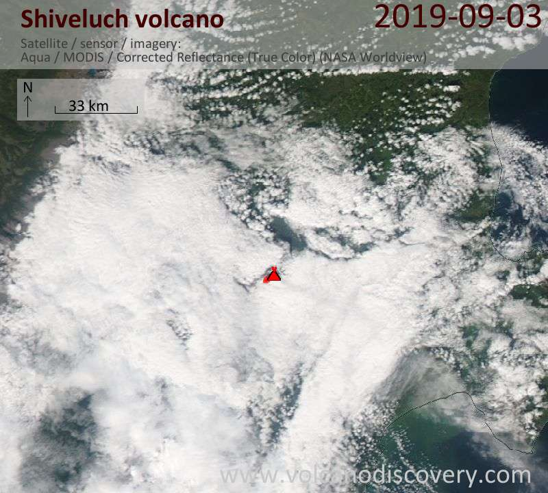 Satellite image of Shiveluch volcano on  4 Sep 2019