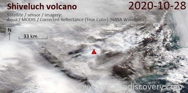 Satellite image of Shiveluch volcano on 28 Oct 2020
