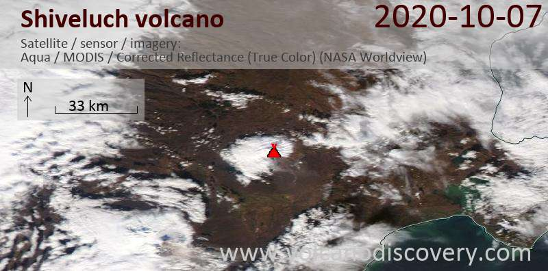 Satellite image of Shiveluch volcano on  7 Oct 2020