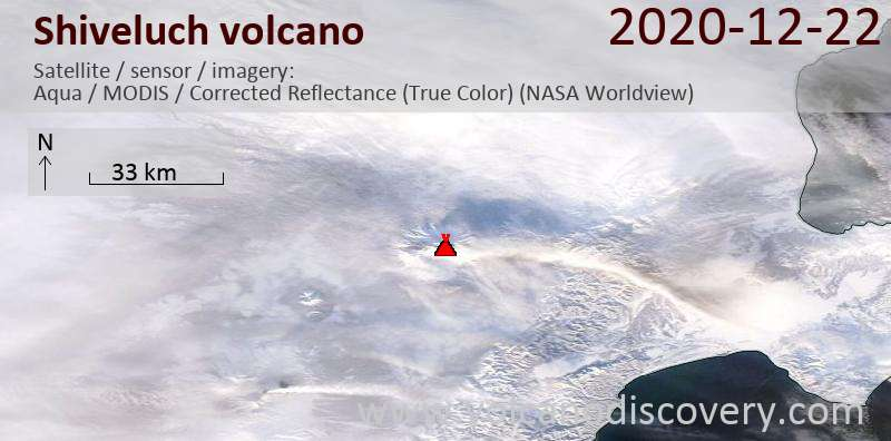 Satellite image of Shiveluch volcano on 22 Dec 2020