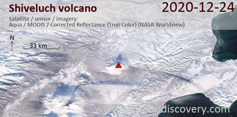 Satellite image of Shiveluch volcano on 24 Dec 2020