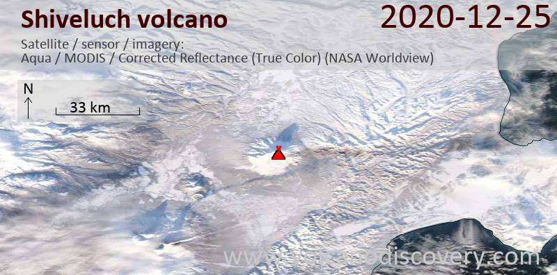 Satellite image of Shiveluch volcano on 25 Dec 2020