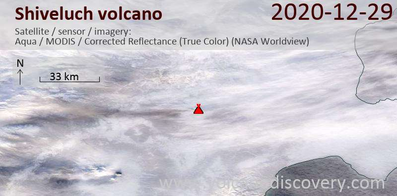 Satellite image of Shiveluch volcano on 29 Dec 2020