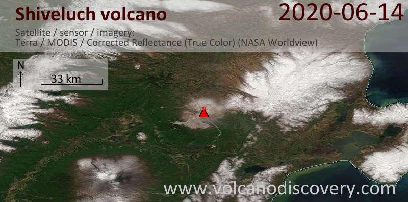 Satellitenbild des Shiveluch Vulkans am 14 Jun 2020