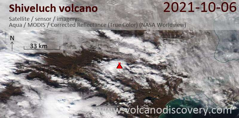 Satellite image of Shiveluch volcano on  6 Oct 2021
