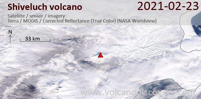 Satellite image of Shiveluch volcano on 23 Feb 2021