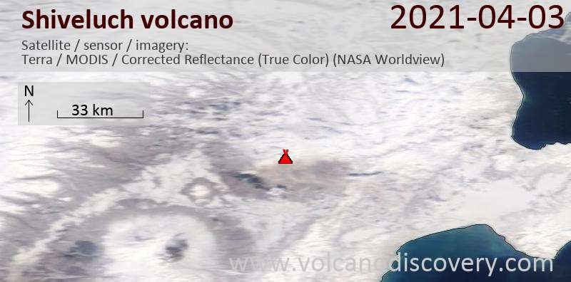 Satellite image of Shiveluch volcano on  3 Apr 2021
