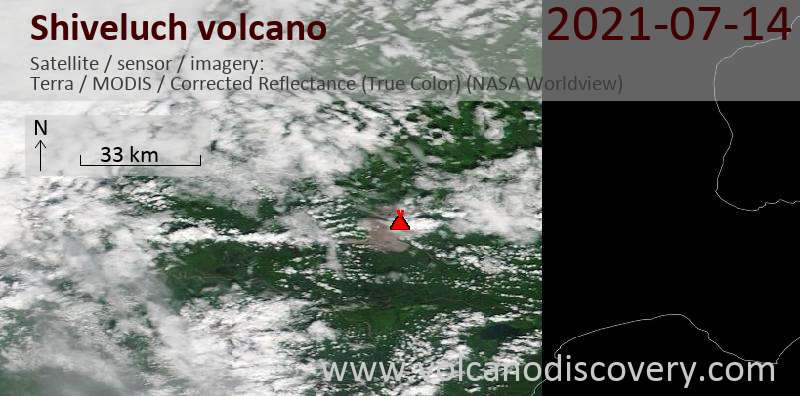 Satellite image of Shiveluch volcano on 17 Jul 2021