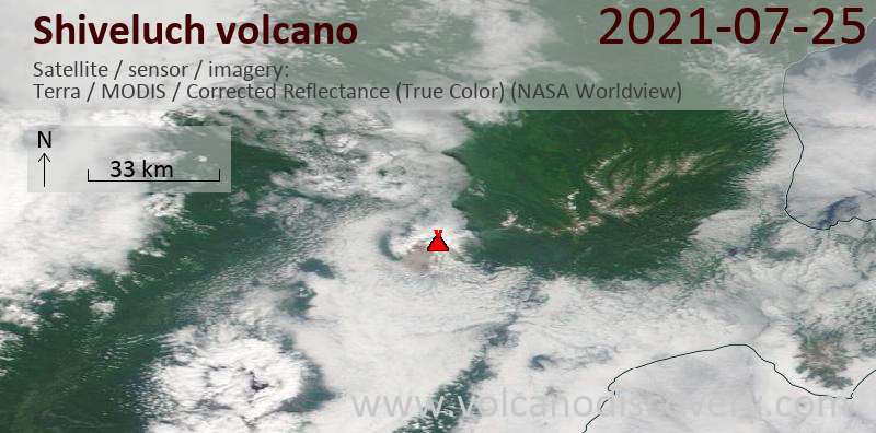 Satellite image of Shiveluch volcano on 26 Jul 2021