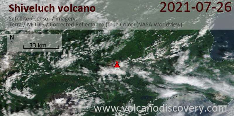 Satellite image of Shiveluch volcano on 27 Jul 2021