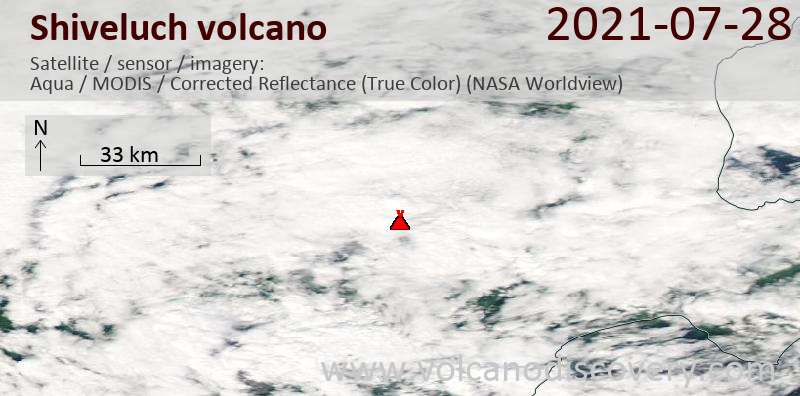 Satellite image of Shiveluch volcano on 28 Jul 2021