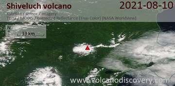 Imagen satelital del volcán Shivloch el 11 de agosto de 2021