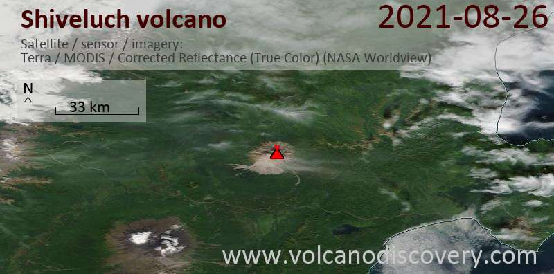 Satellite image of Shiveluch volcano on 26 Aug 2021
