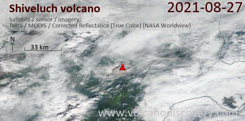 Satellite image of Shiveluch volcano on 28 Aug 2021