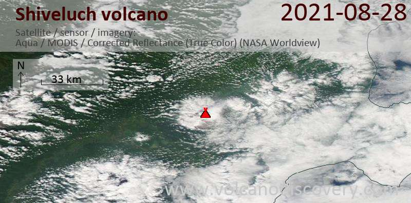 Satellite image of Shiveluch volcano on 29 Aug 2021