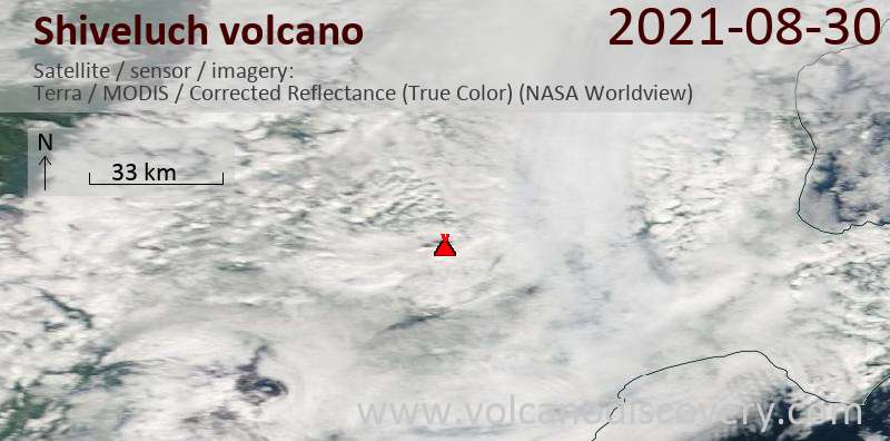 Satellite image of Shiveluch volcano on 30 Aug 2021
