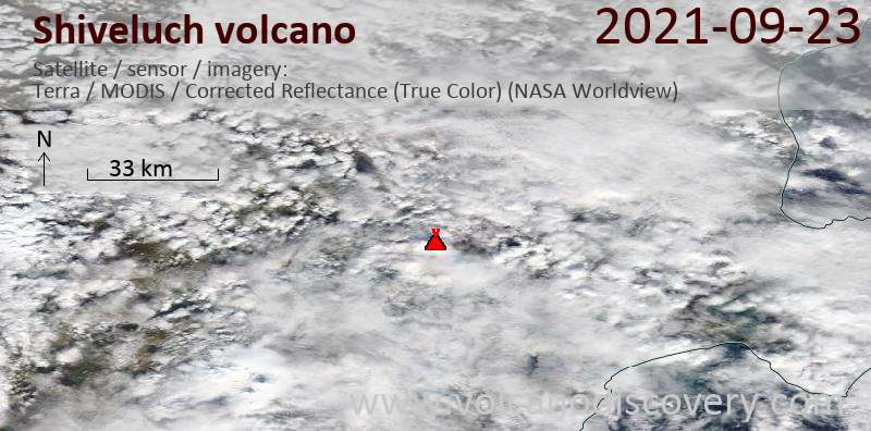 Satellite image of Shiveluch volcano on 23 Sep 2021