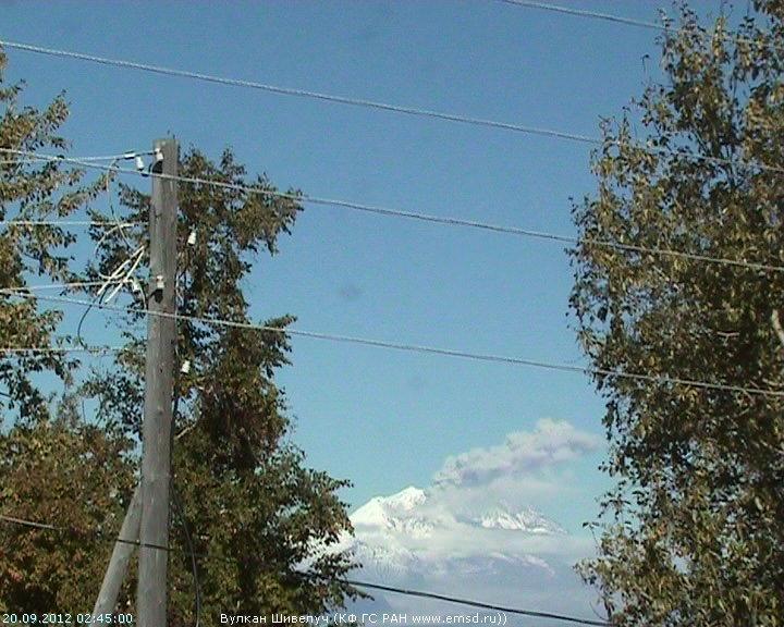 Ash eruption from Sheveluch on 20 Sep (KVERT webcam)