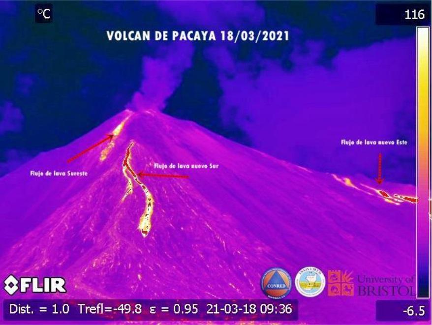 The three active lava flows at Pacaya volcano (image: INSIVUMEH)