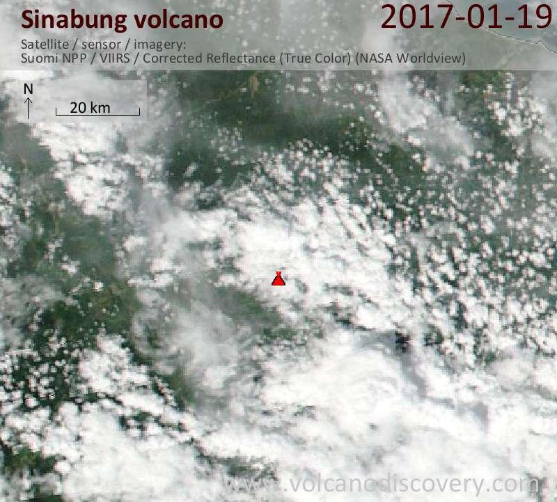 Satellite image of Sinabung volcano on 19 Jan 2017