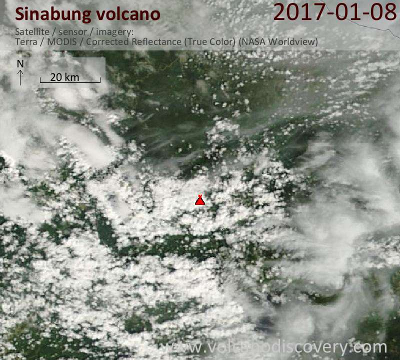 Satellite image of Sinabung volcano on  8 Jan 2017