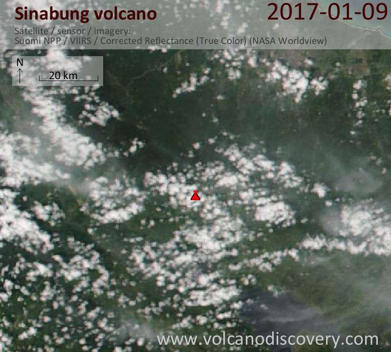 Satellite image of Sinabung volcano on  9 Jan 2017