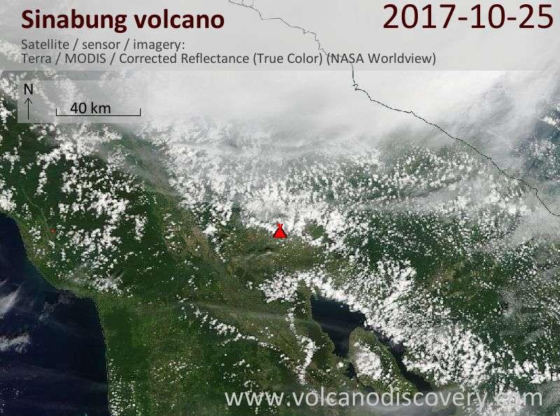 Satellite image of Sinabung volcano on 25 Oct 2017