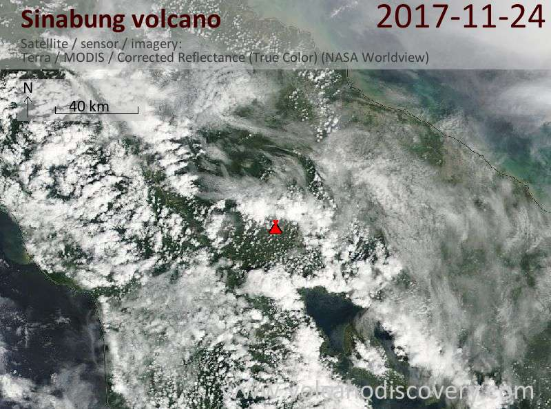 Satellite image of Sinabung volcano on 25 Nov 2017