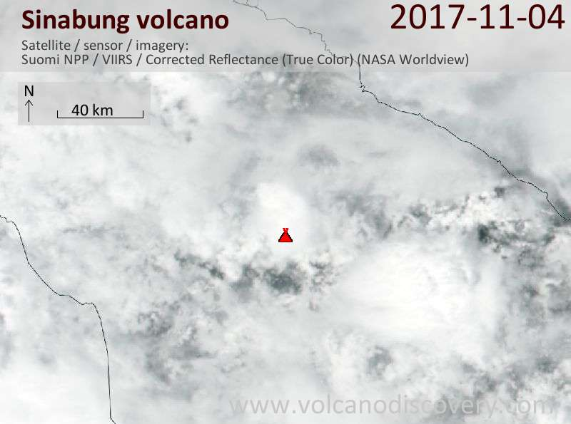 Satellite image of Sinabung volcano on  5 Nov 2017