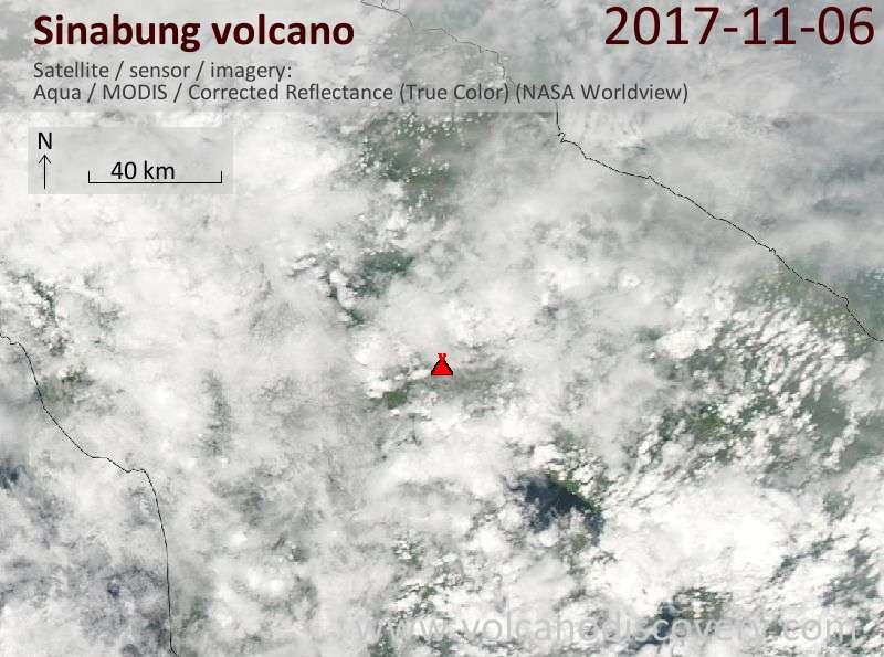 Satellite image of Sinabung volcano on  7 Nov 2017