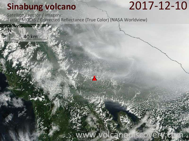 Satellite image of Sinabung volcano on 10 Dec 2017