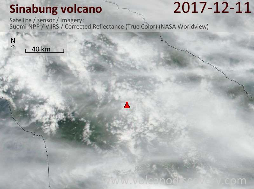Satellite image of Sinabung volcano on 11 Dec 2017