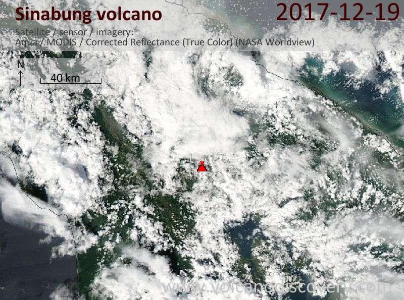 Satellite image of Sinabung volcano on 19 Dec 2017