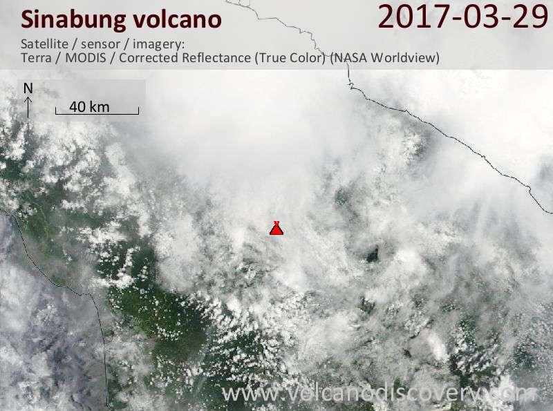 Satellite image of Sinabung volcano on 29 Mar 2017