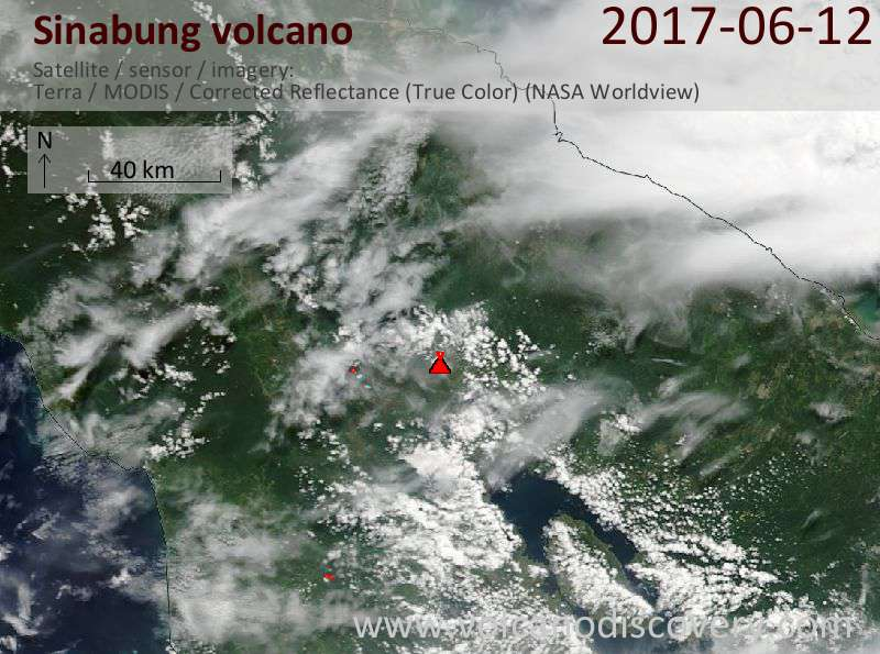 Satellite image of Sinabung volcano on 12 Jun 2017