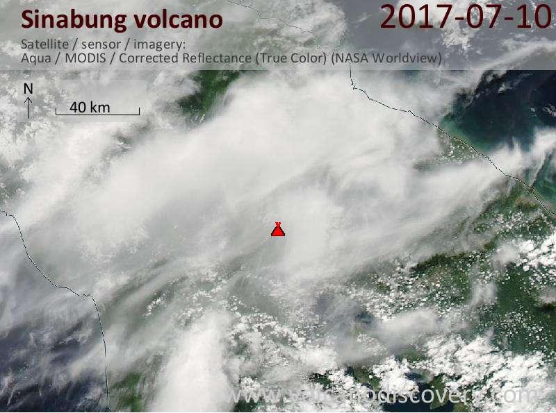 Satellite image of Sinabung volcano on 11 Jul 2017