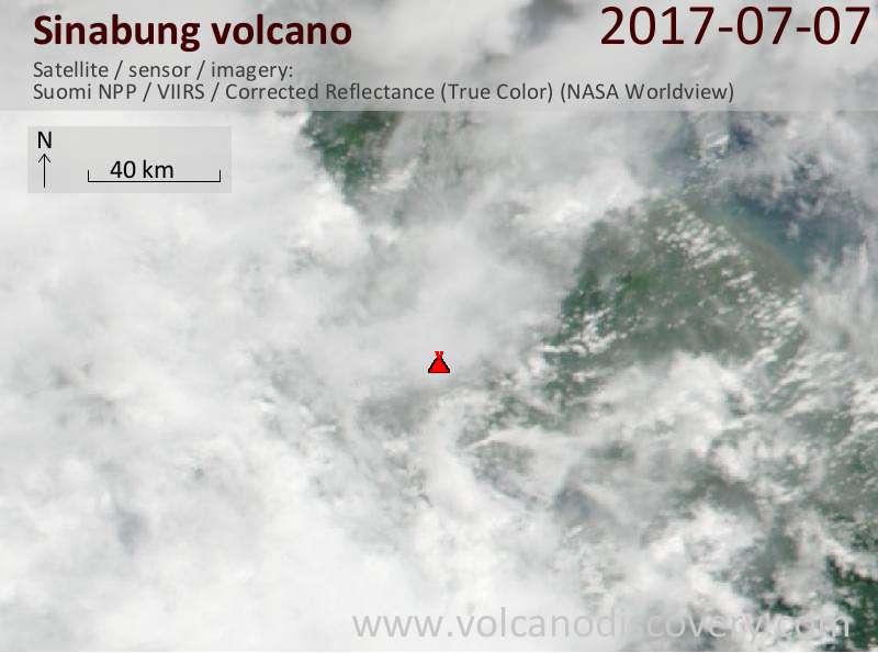 Satellite image of Sinabung volcano on  8 Jul 2017