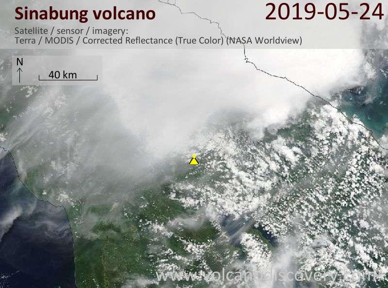 Спутниковое изображение вулкана Sinabung 24 May 2019