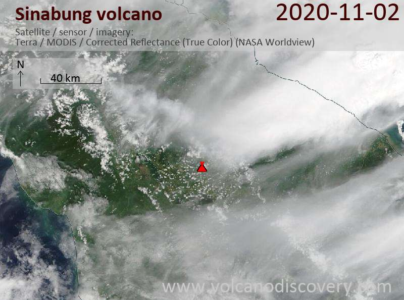 Satellite image of Sinabung volcano on  2 Nov 2020