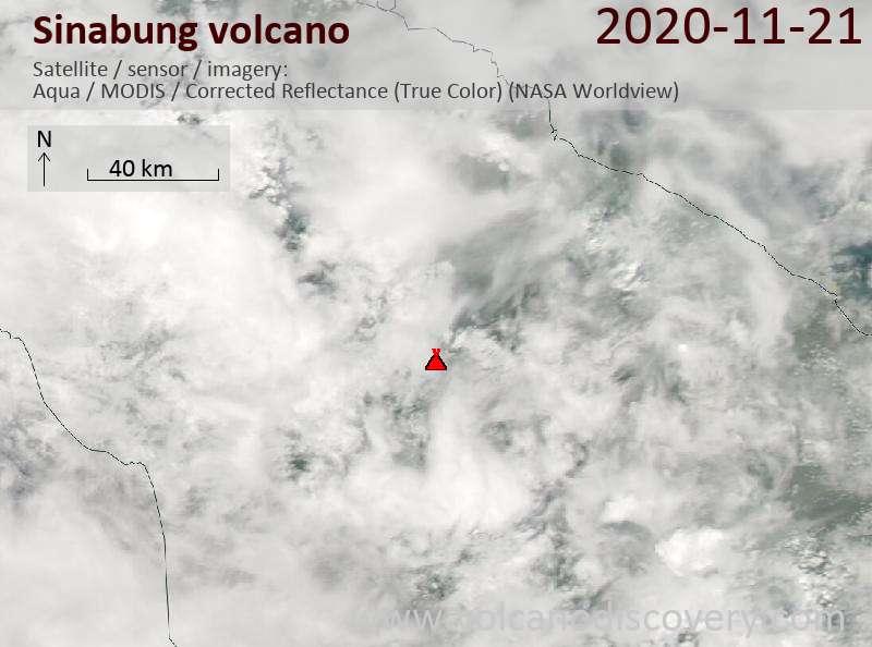Satellite image of Sinabung volcano on 21 Nov 2020