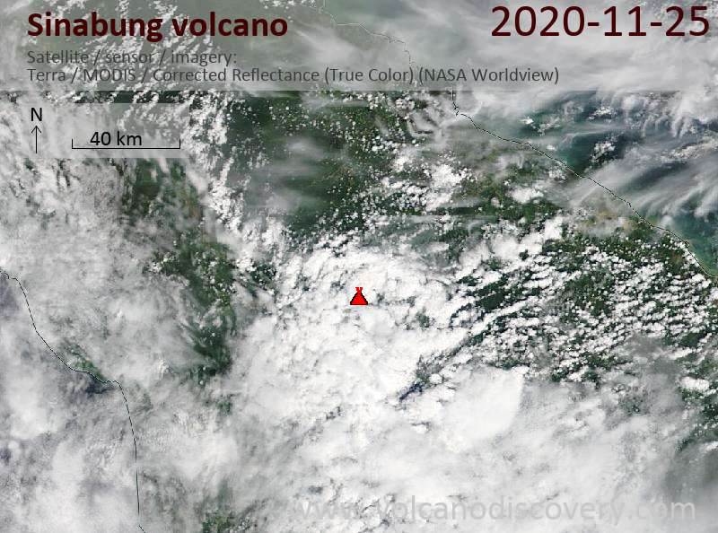 Satellite image of Sinabung volcano on 25 Nov 2020