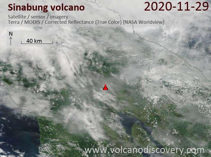 Satellite image of Sinabung volcano on 29 Nov 2020
